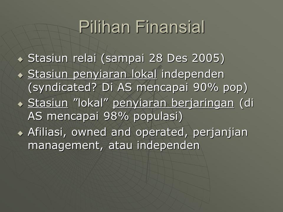 "Pilihan Finansial  Stasiun relai (sampai 28 Des 2005)  Stasiun penyiaran lokal independen (syndicated? Di AS mencapai 90% pop)  Stasiun ""lokal"" pen"