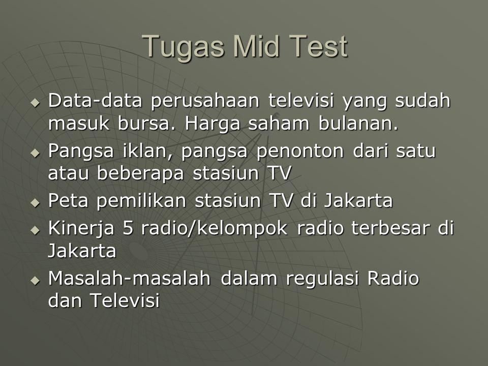 Tugas Mid Test  Data-data perusahaan televisi yang sudah masuk bursa.