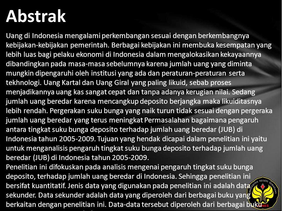 Abstrak Uang di Indonesia mengalami perkembangan sesuai dengan berkembangnya kebijakan-kebijakan pemerintah. Berbagai kebijakan ini membuka kesempatan