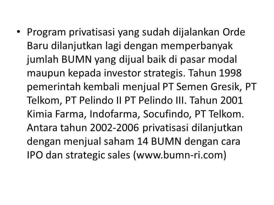 Program privatisasi yang sudah dijalankan Orde Baru dilanjutkan lagi dengan memperbanyak jumlah BUMN yang dijual baik di pasar modal maupun kepada investor strategis.