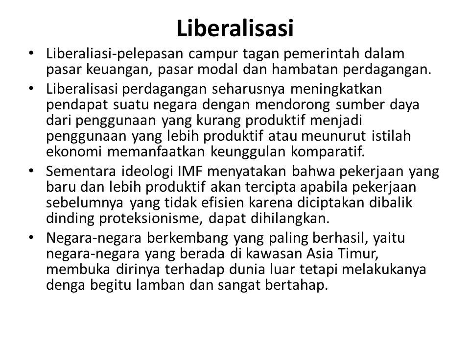 Liberalisasi Liberaliasi-pelepasan campur tagan pemerintah dalam pasar keuangan, pasar modal dan hambatan perdagangan.