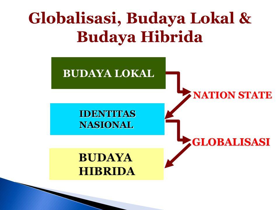 Globalisasi, Budaya Lokal & Budaya Hibrida BUDAYA LOKAL IDENTITAS NASIONAL BUDAYA HIBRIDA NATION STATE GLOBALISASI