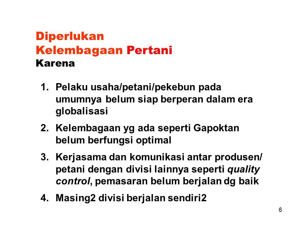 16 Fungsi Lembaga/Organisasi Antara lain dapat berupa : 1.Fungsi Pemasaran 2.Fungsi Keuangan 3.Fungsi Produksi 4.Fungsi Administrasi 5.Fungsi SDM 6.dll