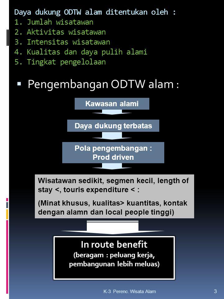 Daya dukung ODTW alam ditentukan oleh : 1. Jumlah wisatawan 2.