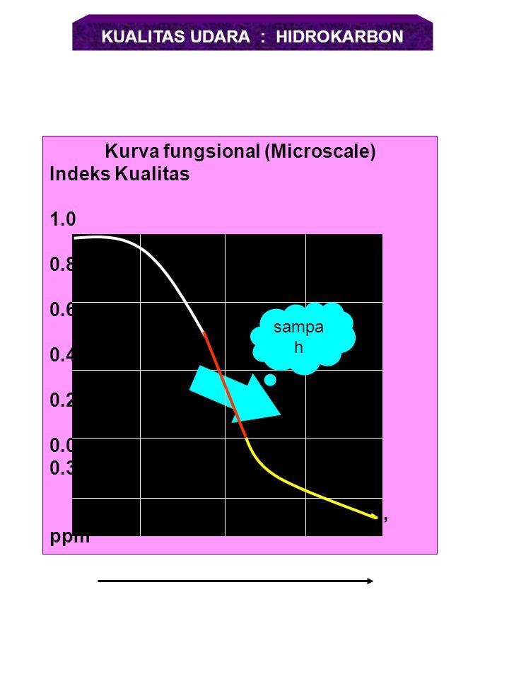 Kurva fungsional (Microscale) Indeks Kualitas 1.0 0.8 0.6 0.4 0.2 0.0 100 200 300 400 Rataan 24 jam (  g/m 3 ) KUALITAS UDARA: PARTIKULAT sampah