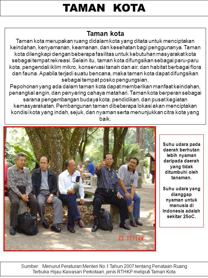 KEPEMILIKAN RTH Sumber: Peraturan Menteri Pekerjaan Umum No. 05/PRT/M/2008 Catatan: Taman lingkungan yang merupakan RTH privat adalah taman lingkungan