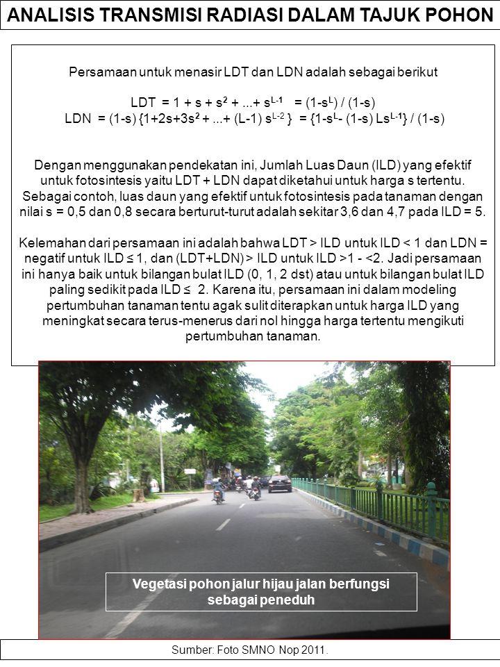 ANALISIS TRANSMISI RADIASI DALAM TAJUK POHON Suatu analisis yang rinci mengenai kuantitas cahaya yang diabsorbsi oleh suatu satuan luas daun dilakukan