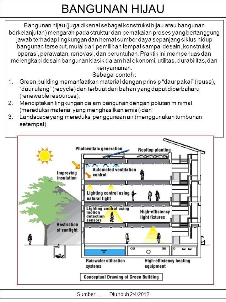 . Bangunan hijau (green building) didesain untuk mereduksi dampak lingkungan terbangun pada kesehatan manusia dan alam, melalui : efisiensi dalam peng