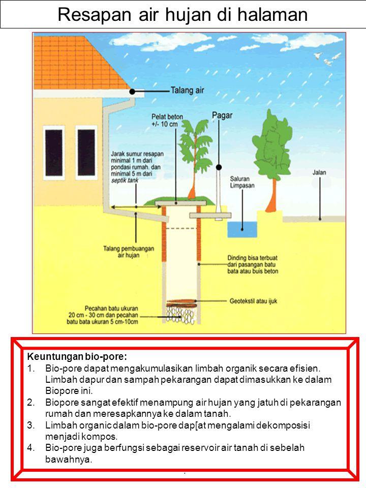 LUBANG RESAPAN BIOPORI (LRB) Di daerah perkotaan, keberadaan pepohonan semakin tergusur oleh bangunan-bangunan sehingga lubang biopori menjadi semakin