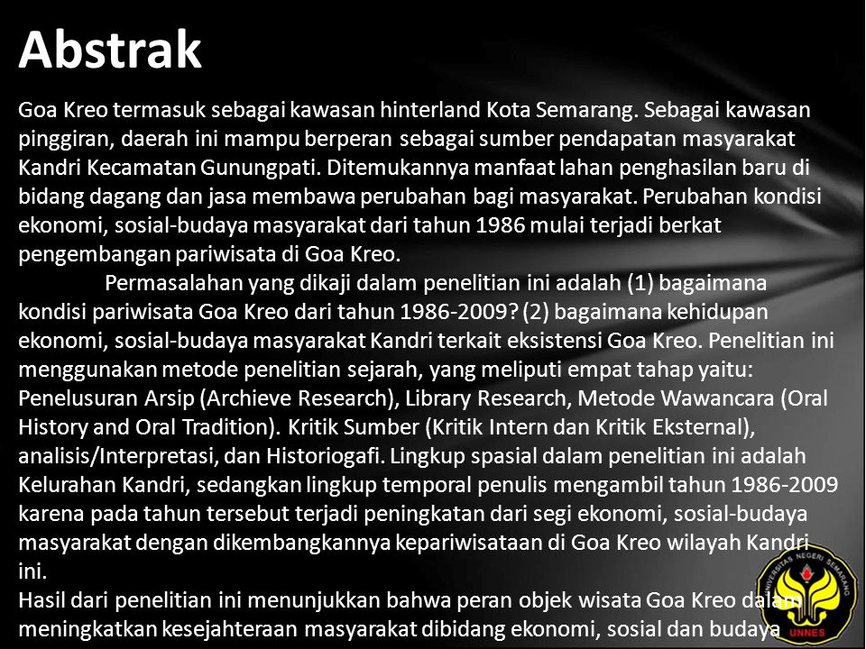 Abstrak Goa Kreo termasuk sebagai kawasan hinterland Kota Semarang.