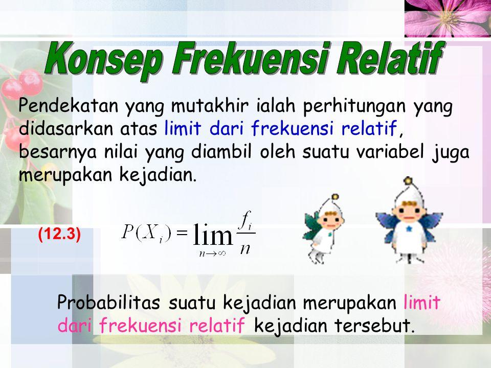 Pendekatan yang mutakhir ialah perhitungan yang didasarkan atas limit dari frekuensi relatif, besarnya nilai yang diambil oleh suatu variabel juga mer