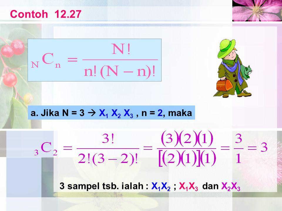 Contoh 12.27 a. Jika N = 3  X 1 X 2 X 3, n = 2, maka 3 sampel tsb. ialah : X 1 X 2 ; X 1 X 3 dan X 2 X 3