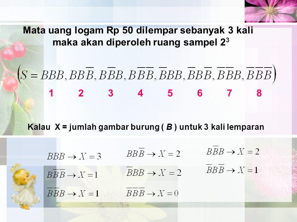 Mata uang logam Rp 50 dilempar sebanyak 3 kali maka akan diperoleh ruang sampel 2 3 1234567812345678 Kalau X = jumlah gambar burung ( B ) untuk 3 kali