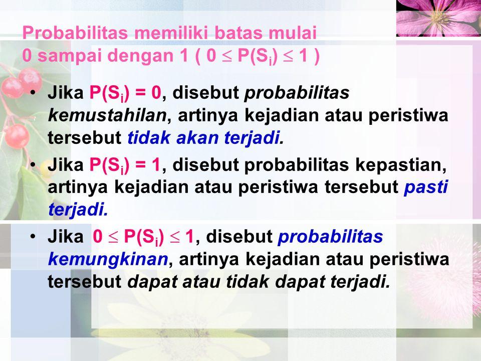 Probabilitas memiliki batas mulai 0 sampai dengan 1 ( 0  P(S i )  1 ) Jika P(S i ) = 0, disebut probabilitas kemustahilan, artinya kejadian atau per
