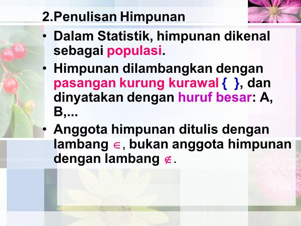 2.Penulisan Himpunan Dalam Statistik, himpunan dikenal sebagai populasi. Himpunan dilambangkan dengan pasangan kurung kurawal { }, dan dinyatakan deng