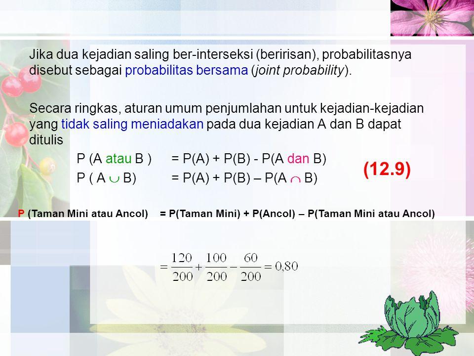 Jika dua kejadian saling ber-interseksi (beririsan), probabilitasnya disebut sebagai probabilitas bersama (joint probability). Secara ringkas, aturan