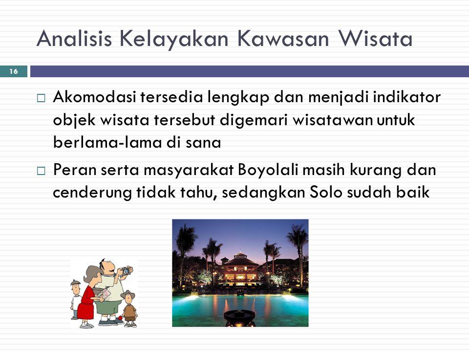Analisis Kelayakan Kawasan Wisata  Akomodasi tersedia lengkap dan menjadi indikator objek wisata tersebut digemari wisatawan untuk berlama-lama di sa