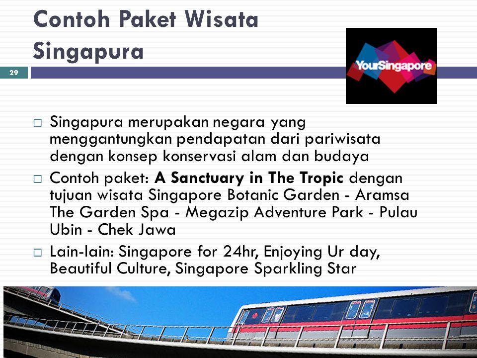 Contoh Paket Wisata Singapura  Singapura merupakan negara yang menggantungkan pendapatan dari pariwisata dengan konsep konservasi alam dan budaya  C