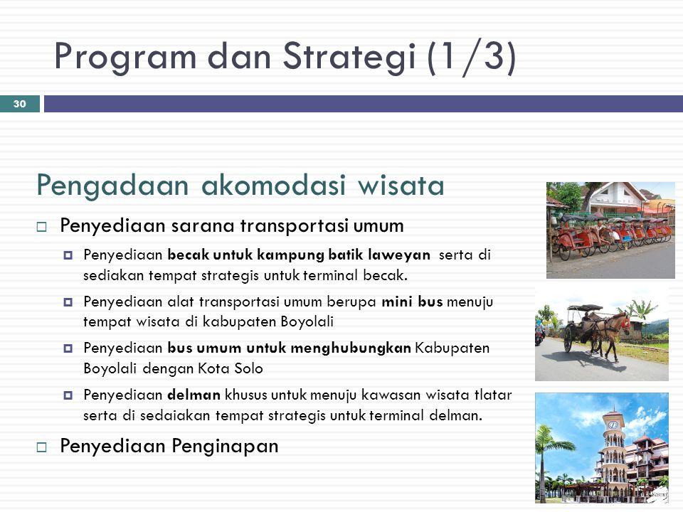 Program dan Strategi (1/3) Pengadaan akomodasi wisata  Penyediaan sarana transportasi umum  Penyediaan becak untuk kampung batik laweyan serta di se