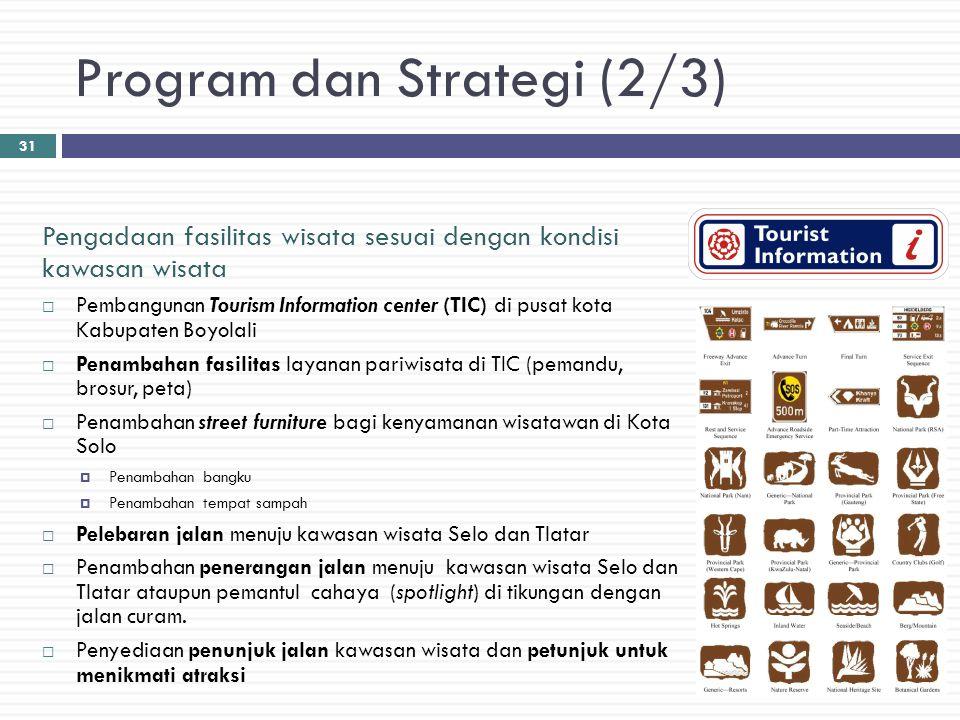 Program dan Strategi (2/3) Pengadaan fasilitas wisata sesuai dengan kondisi kawasan wisata  Pembangunan Tourism Information center (TIC) di pusat kot