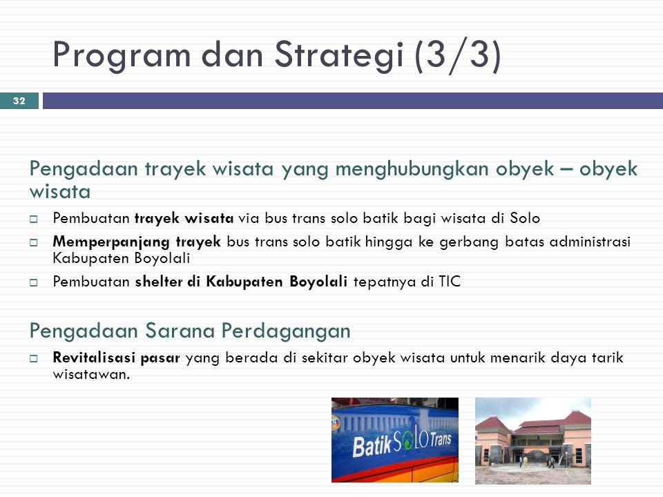 Program dan Strategi (3/3) Pengadaan trayek wisata yang menghubungkan obyek – obyek wisata  Pembuatan trayek wisata via bus trans solo batik bagi wis
