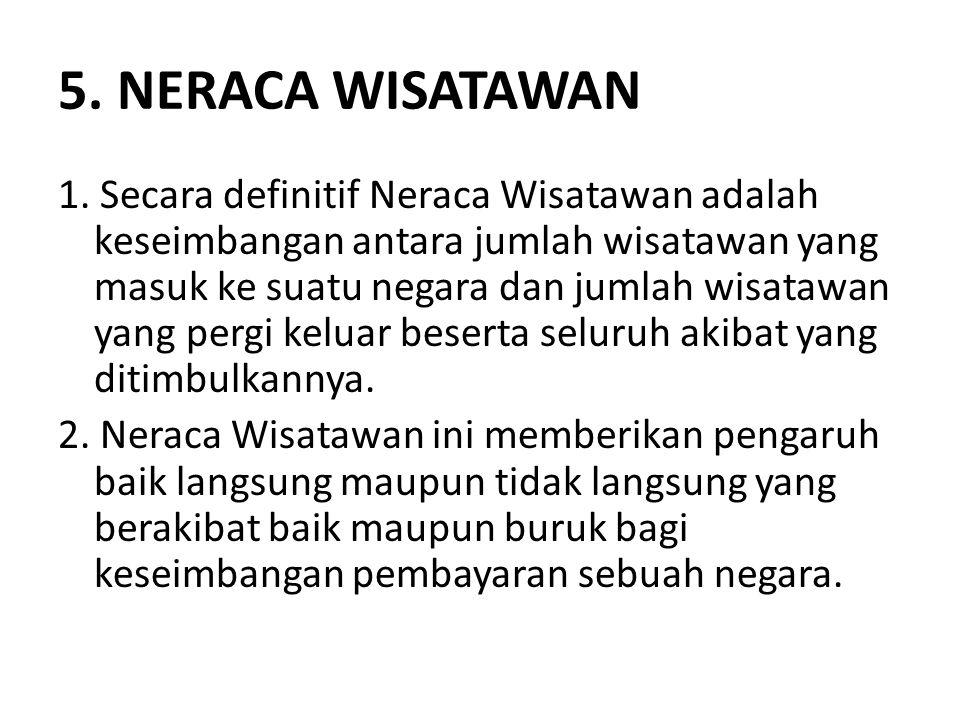 5. NERACA WISATAWAN 1. Secara definitif Neraca Wisatawan adalah keseimbangan antara jumlah wisatawan yang masuk ke suatu negara dan jumlah wisatawan y