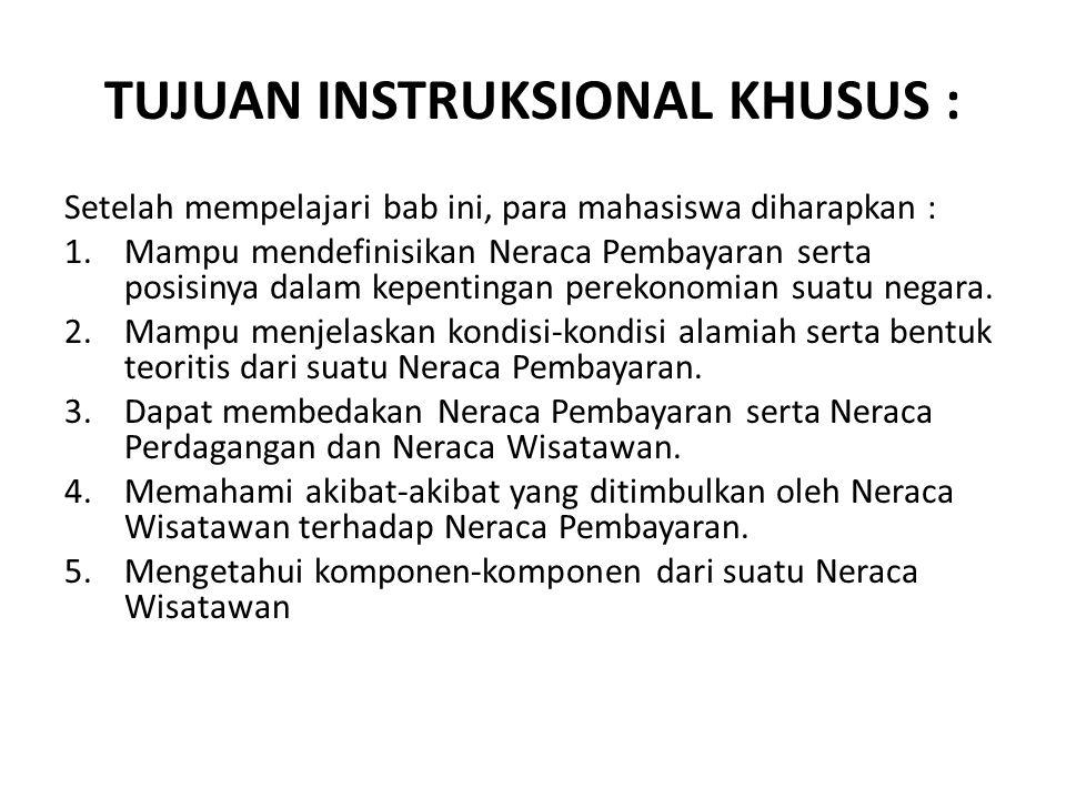 TUJUAN INSTRUKSIONAL KHUSUS : Setelah mempelajari bab ini, para mahasiswa diharapkan : 1.Mampu mendefinisikan Neraca Pembayaran serta posisinya dalam