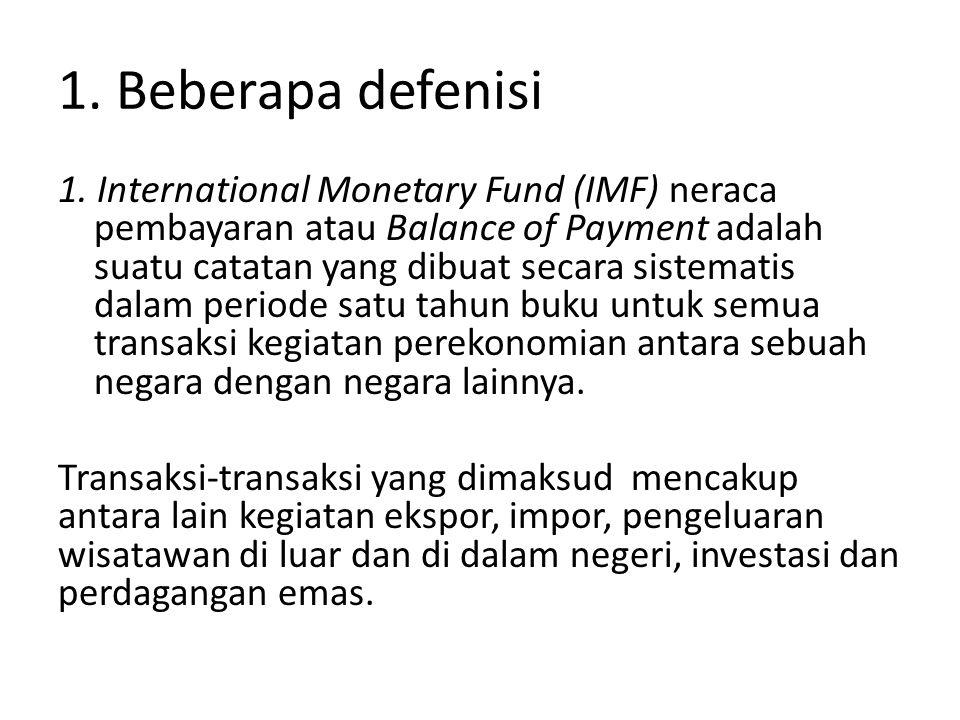 1. Beberapa defenisi 1. International Monetary Fund (IMF) neraca pembayaran atau Balance of Payment adalah suatu catatan yang dibuat secara sistematis