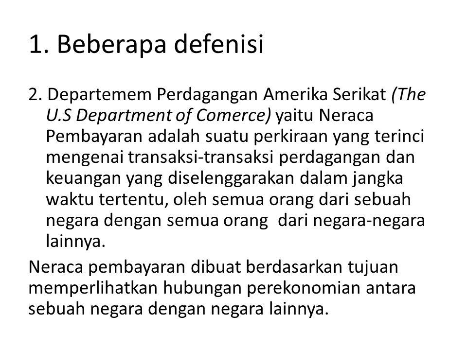1. Beberapa defenisi 2. Departemem Perdagangan Amerika Serikat (The U.S Department of Comerce) yaitu Neraca Pembayaran adalah suatu perkiraan yang ter