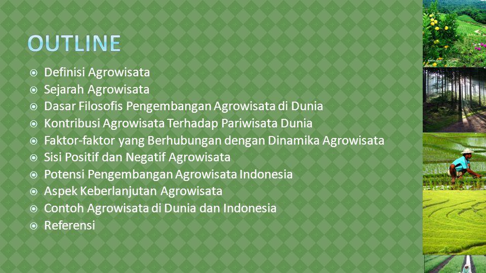  Definisi Agrowisata  Sejarah Agrowisata  Dasar Filosofis Pengembangan Agrowisata di Dunia  Kontribusi Agrowisata Terhadap Pariwisata Dunia  Faktor-faktor yang Berhubungan dengan Dinamika Agrowisata  Sisi Positif dan Negatif Agrowisata  Potensi Pengembangan Agrowisata Indonesia  Aspek Keberlanjutan Agrowisata  Contoh Agrowisata di Dunia dan Indonesia  Referensi