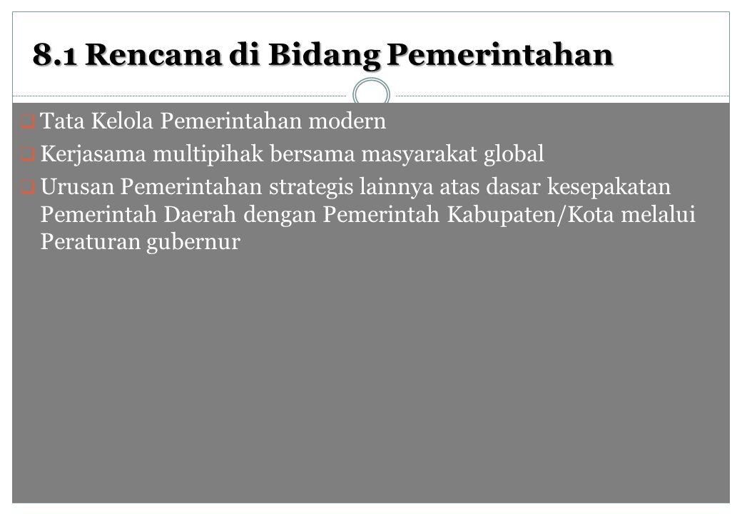 8.1 Rencana di Bidang Pemerintahan  Tata Kelola Pemerintahan modern  Kerjasama multipihak bersama masyarakat global  Urusan Pemerintahan strategis