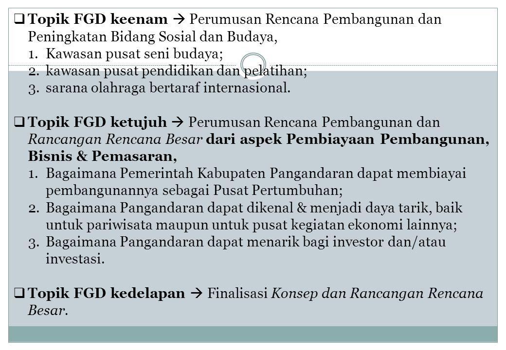 Topik FGD keenam  Perumusan Rencana Pembangunan dan Peningkatan Bidang Sosial dan Budaya, 1.Kawasan pusat seni budaya; 2.kawasan pusat pendidikan d