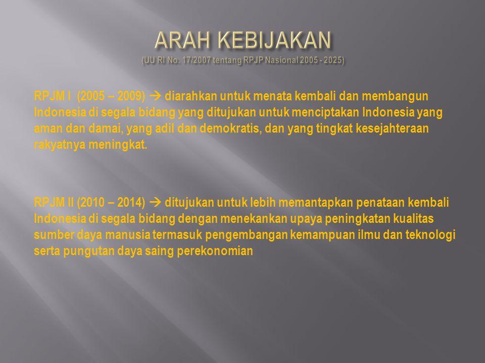 RPJM I (2005 – 2009)  diarahkan untuk menata kembali dan membangun Indonesia di segala bidang yang ditujukan untuk menciptakan Indonesia yang aman da