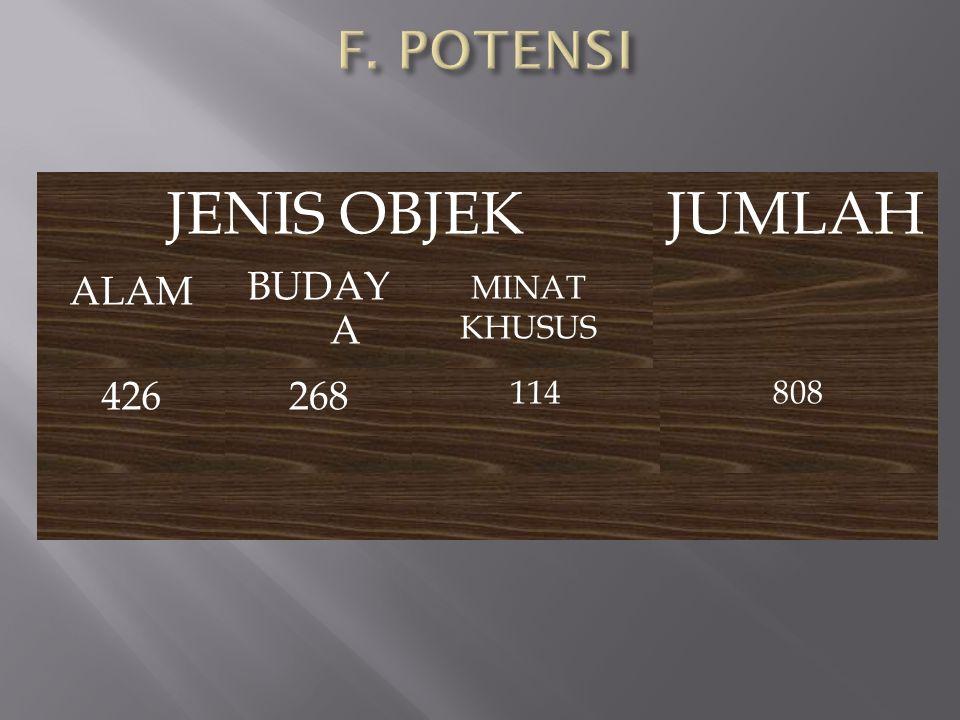 JENIS OBJEK ALAM BUDAY A MINAT KHUSUS JUMLAH 426268 114808