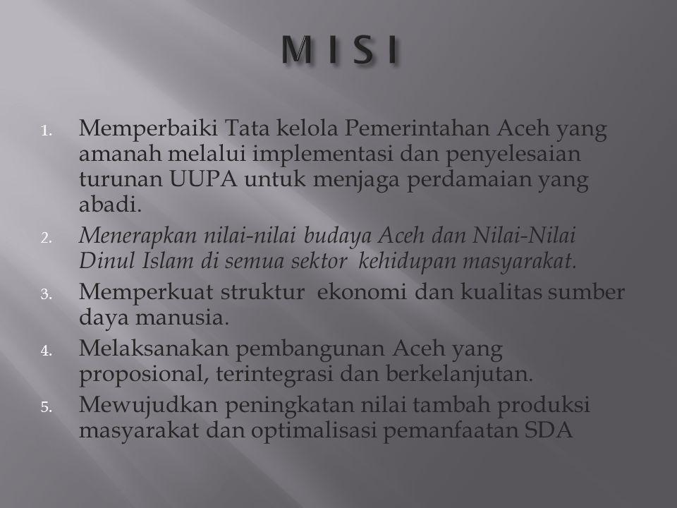 1. Memperbaiki Tata kelola Pemerintahan Aceh yang amanah melalui implementasi dan penyelesaian turunan UUPA untuk menjaga perdamaian yang abadi. 2. Me