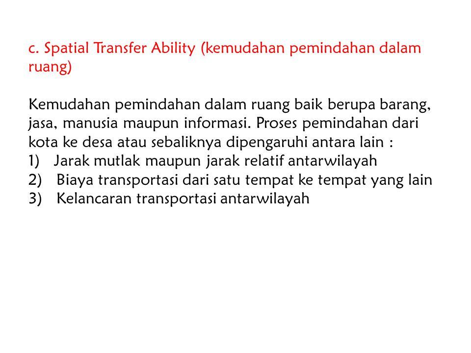 c. Spatial Transfer Ability (kemudahan pemindahan dalam ruang) Kemudahan pemindahan dalam ruang baik berupa barang, jasa, manusia maupun informasi. Pr