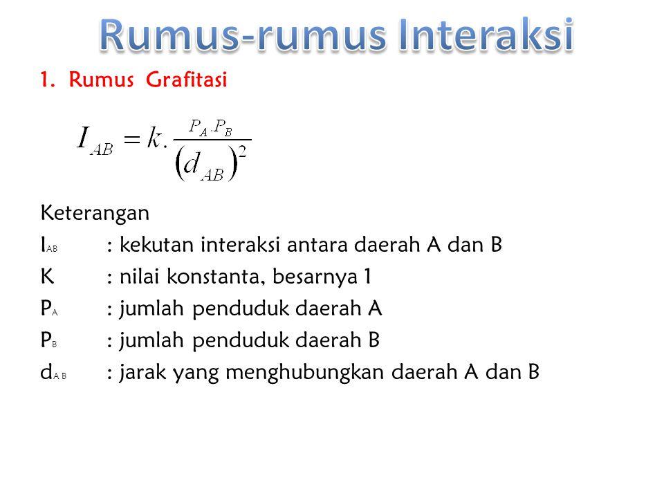 1. Rumus Grafitasi Keterangan I AB : kekutan interaksi antara daerah A dan B K: nilai konstanta, besarnya 1 P A : jumlah penduduk daerah A P B : jumla
