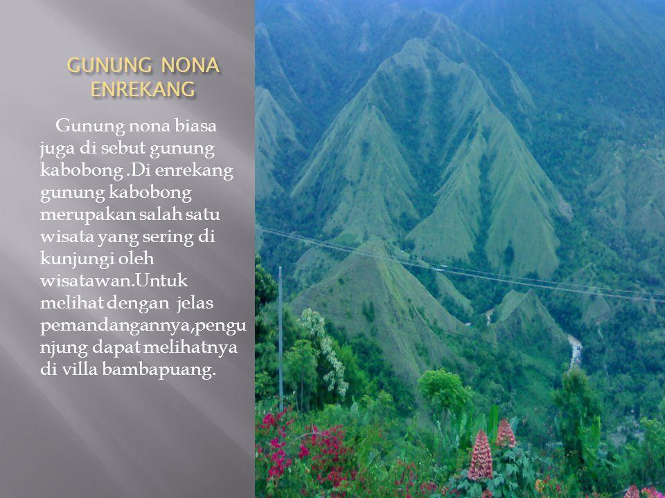 GUNUNG NONA ENREKANG Gunung nona biasa juga di sebut gunung kabobong.Di enrekang gunung kabobong merupakan salah satu wisata yang sering di kunjungi o
