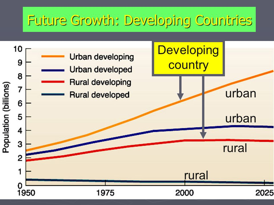 Future Growth: Developing Countries Developing country urban rural