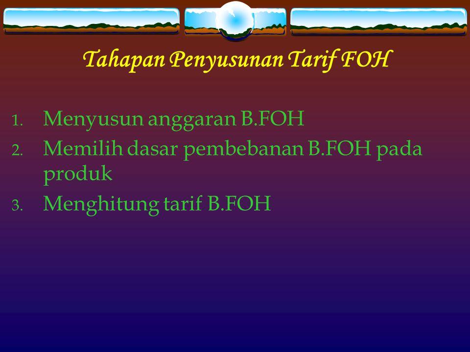 Tahapan Penyusunan Tarif FOH 1.Menyusun anggaran B.FOH 2.