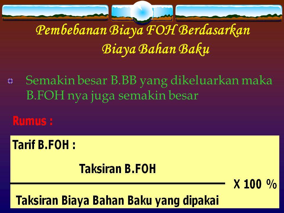 Pembebanan Biaya FOH Berdasarkan Biaya Bahan Baku Semakin besar B.BB yang dikeluarkan maka B.FOH nya juga semakin besar