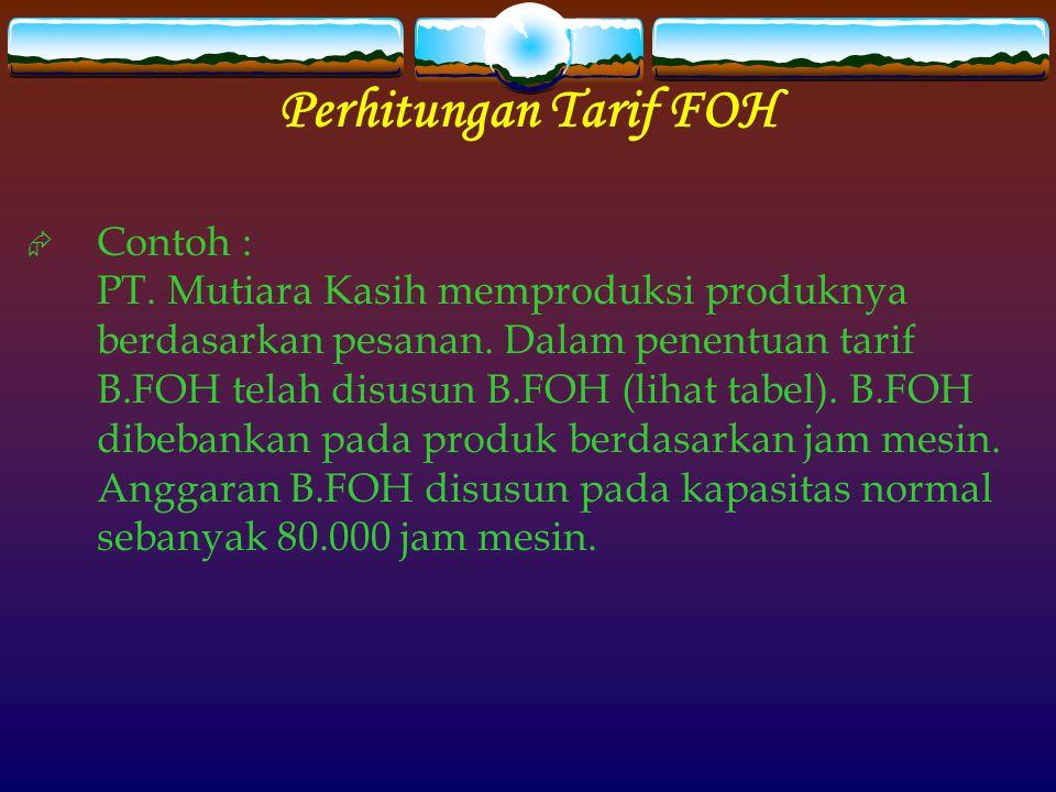 Perhitungan Tarif FOH  Contoh : PT. Mutiara Kasih memproduksi produknya berdasarkan pesanan. Dalam penentuan tarif B.FOH telah disusun B.FOH (lihat t