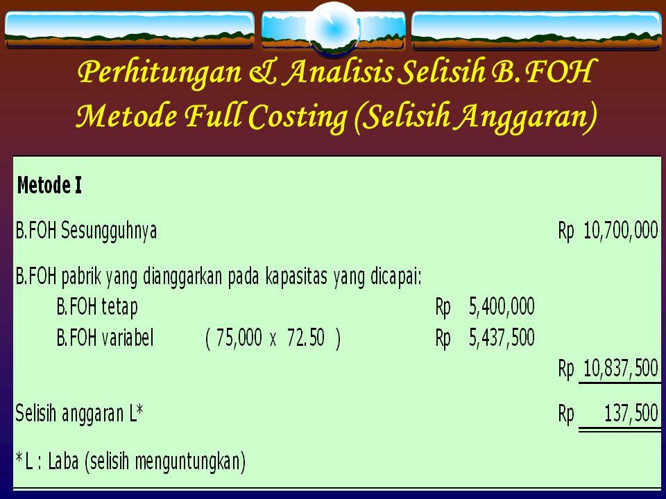 Perhitungan & Analisis Selisih B.FOH Metode Full Costing (Selisih Anggaran)
