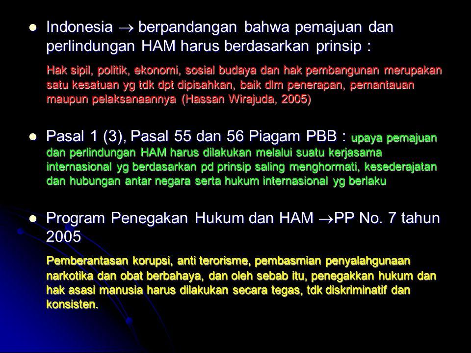 Indonesia  berpandangan bahwa pemajuan dan perlindungan HAM harus berdasarkan prinsip : Indonesia  berpandangan bahwa pemajuan dan perlindungan HAM