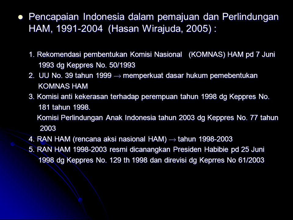 Pencapaian Indonesia dalam pemajuan dan Perlindungan HAM, 1991-2004 (Hasan Wirajuda, 2005) : Pencapaian Indonesia dalam pemajuan dan Perlindungan HAM,