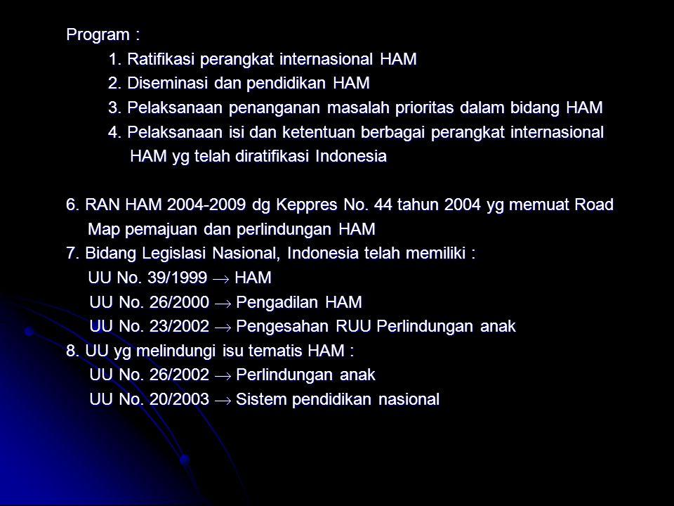 Program : 1. Ratifikasi perangkat internasional HAM 2. Diseminasi dan pendidikan HAM 3. Pelaksanaan penanganan masalah prioritas dalam bidang HAM 4. P
