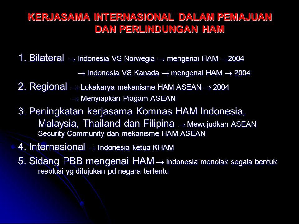 KERJASAMA INTERNASIONAL DALAM PEMAJUAN DAN PERLINDUNGAN HAM 1. Bilateral  Indonesia VS Norwegia  mengenai HAM  2004  Indonesia VS Kanada  mengena