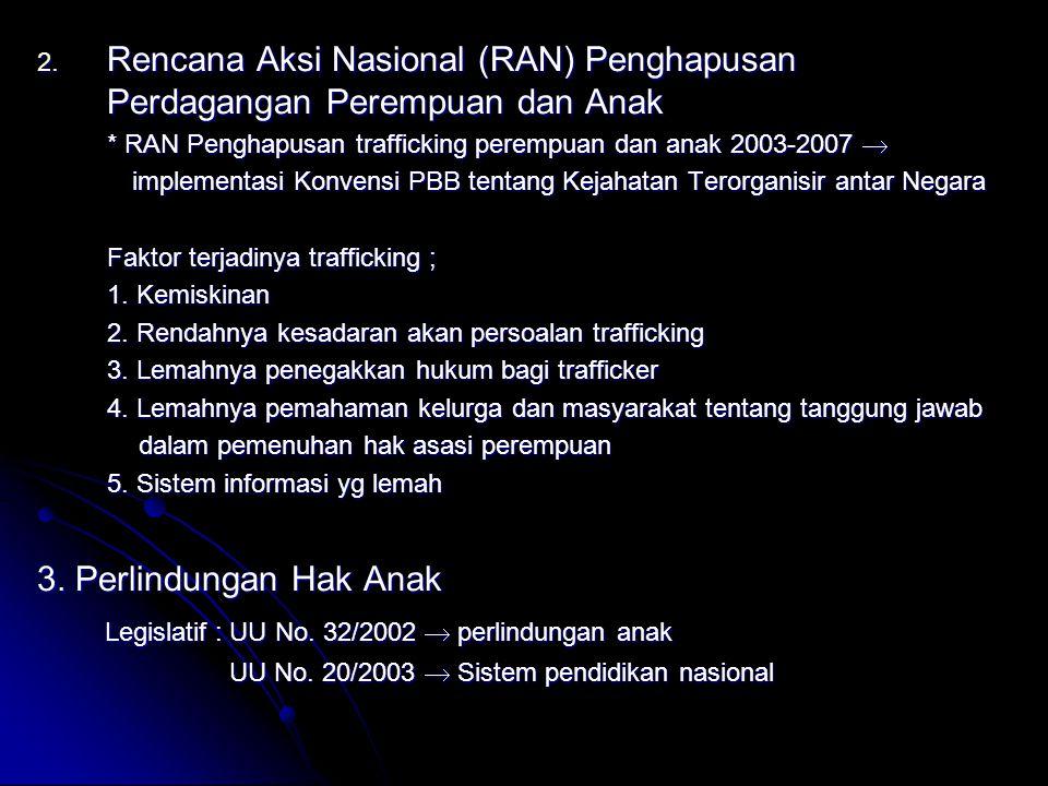 2. Rencana Aksi Nasional (RAN) Penghapusan Perdagangan Perempuan dan Anak * RAN Penghapusan trafficking perempuan dan anak 2003-2007  implementasi Ko