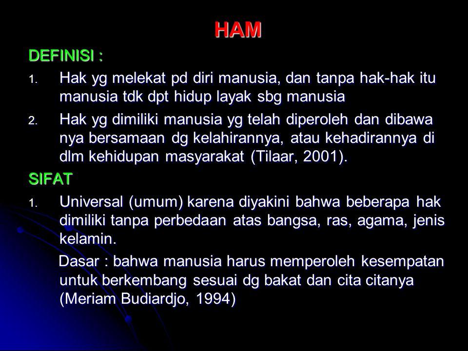 9.Indonesia telah meratifikasi 4 dari 7 instrumen pokok HAM internasional a.