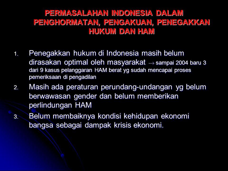 PERMASALAHAN INDONESIA DALAM PENGHORMATAN, PENGAKUAN, PENEGAKKAN HUKUM DAN HAM 1. Penegakkan hukum di Indonesia masih belum dirasakan optimal oleh mas